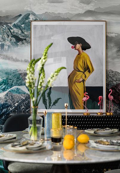 餐厅图片来自家装大管家在110平深色系现代3居 经典黑白灰的分享