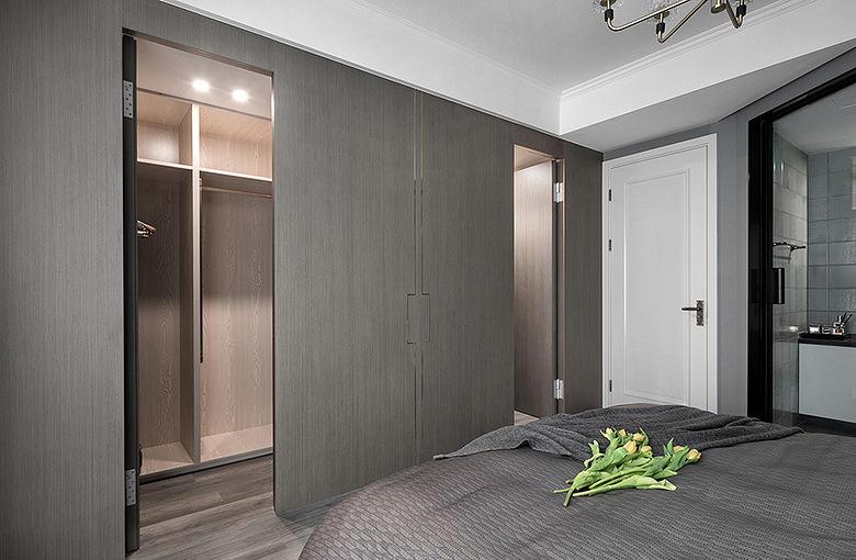 卧室图片来自家装大管家在110平深色系现代3居 经典黑白灰的分享