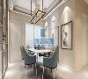 餐厅方案酒柜与餐桌相互呼应,既强调空间又注重美观,功能性加强,墙面采用了简单的壁纸,壁画与整体灯光协调一致