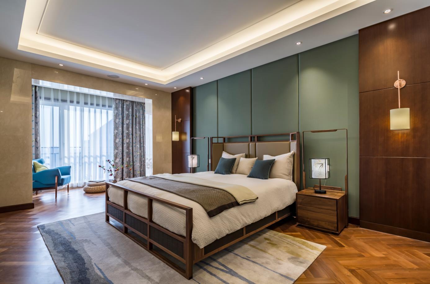 北京申远 申远空间 别墅装修 别墅 卧室图片来自申远空间设计北京分公司在北京申远空间设计-新中式的分享