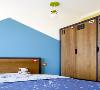 空间配色是天蓝色与柠檬黄,背景墙是蓝色组织而成的山峰形状。考虑到小孩子的衣物不多,所以衣柜的大小也是适应性的调小不少。床头的毛绒玩具应该是小女生都无法抵御的可爱玩具。