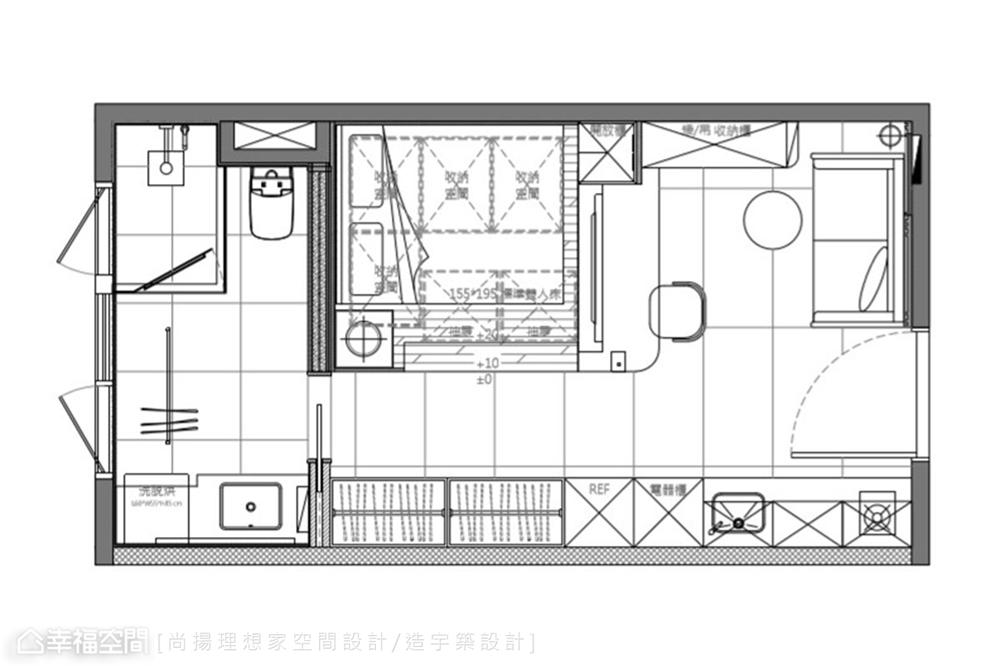 装修设计 装修完成 现代风格 户型图图片来自幸福空间在26平,现代清韵  全机能小宅的分享