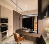 柜体规划 麻雀虽小、五脏俱全,一字形厨房依著水平线规划完善电器柜;室内所有高柜统一收齐于左右两侧,视觉画面俐落,拉阔宽敞空间感。