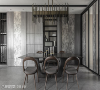 餐厅 餐厅选用深色古铜金灯具与圆弧造型的深灰木质餐椅,提升灰阶空间的温暖度,墙面收纳柜选用石纹美耐板与木纹效果的图样,在深色中创造丰富的视觉趣味。