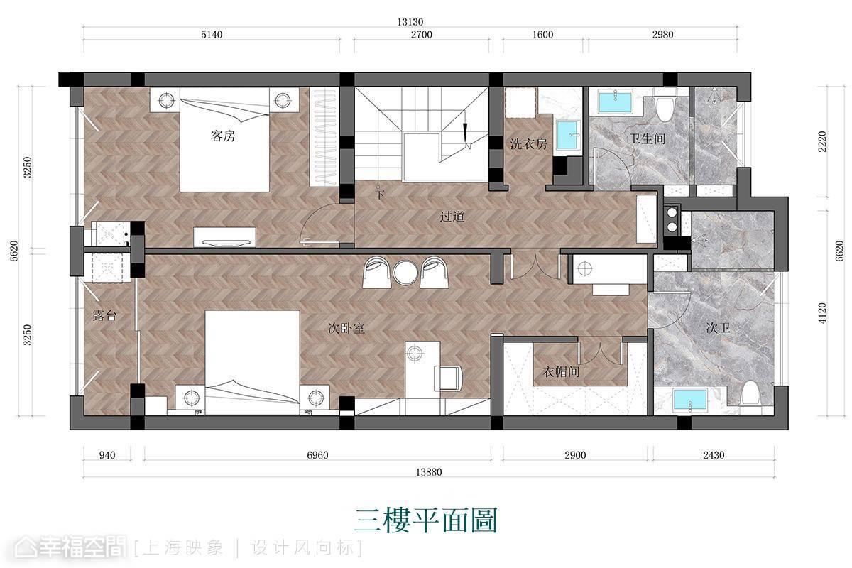 混搭 四居 上海 小资 户型图图片来自幸福空间在230㎡如歌如诗的雪域星城的分享