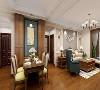 造型偏古典的美式沙发,柔软的低靠背既烘托了整体风格又保证了客厅的舒适视野,完整且温馨的大环境就这样形成了。 开放式格局,圆角方形餐桌,软垫皮质座椅,精致的四人制餐厅体现的是相对于传统的餐点时光方式。