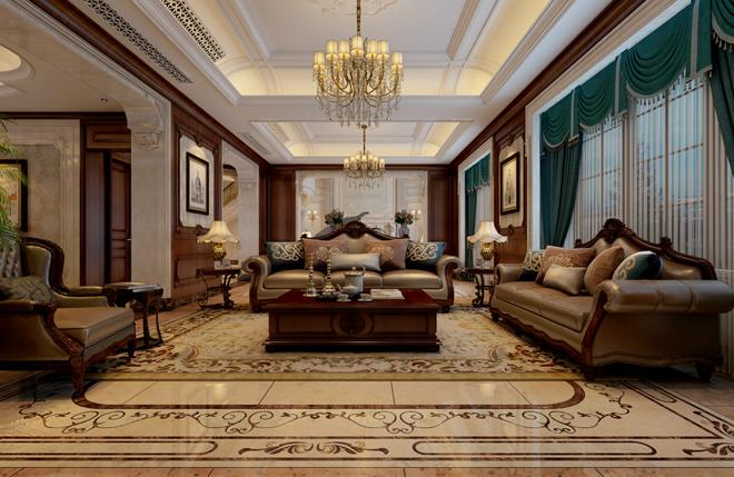 欧式 别墅 客厅图片来自山水装饰在内森庄园别墅欧式风格的分享