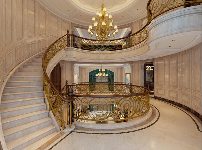 欧式 别墅 楼梯图片来自山水装饰在内森庄园别墅欧式风格的分享