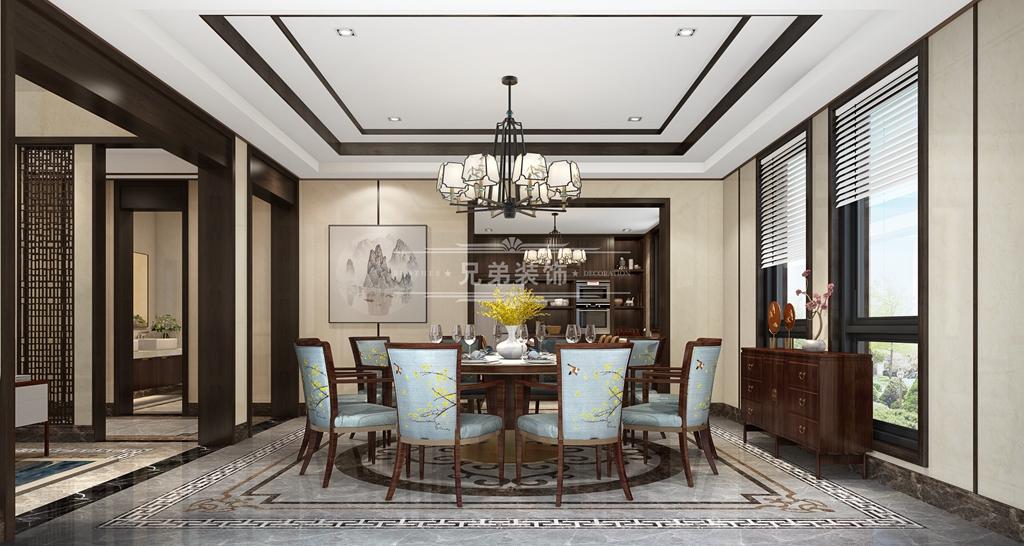 别墅 中式 设计 餐厅图片来自重庆兄弟装饰黄妃在1000㎡山顶道御府别墅装修参考图的分享