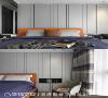 主卧房 主卧室墙面以俐落的线条板材呈现,同时规划强大的收纳柜,此外,床头配置上掀式门片可以置物。