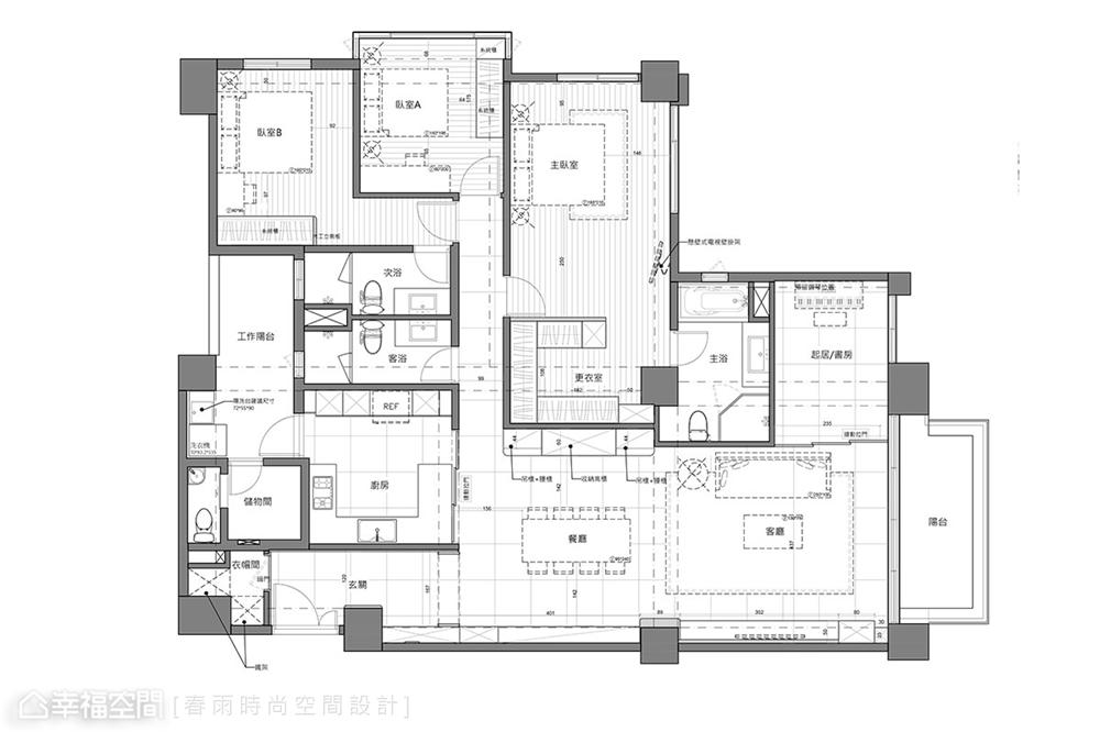 装修设计 装修完成 混搭 户型图图片来自幸福空间在175平,北欧现代 简净舒适宅的分享