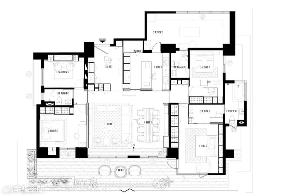 装修设计 装修完成 现代风格 户型图图片来自幸福空间在198平,现代新东方 幸福之家的分享