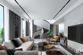 轻奢 现代 别墅 客厅图片来自重庆兄弟装饰黄妃在龙湖舜山府跃层装修设计效果图的分享
