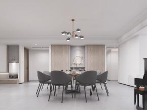 简约 别墅 现代 餐厅图片来自山水装饰在合肥益力檀宫别墅装修现代风格的分享