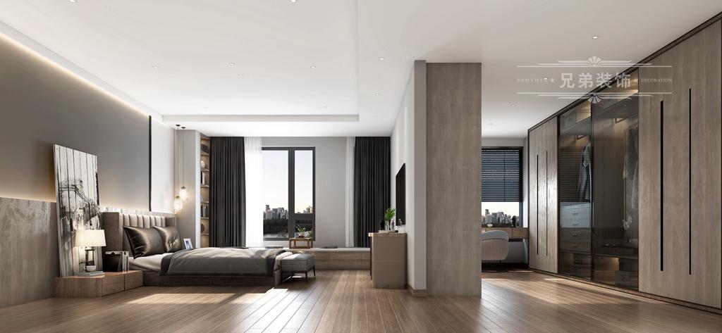 现代 黑白 装修 卧室图片来自重庆兄弟装饰黄妃在158㎡华润二十四城装修效果图的分享