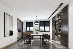 现代 黑白 装修 餐厅图片来自重庆兄弟装饰黄妃在158㎡华润二十四城装修效果图的分享
