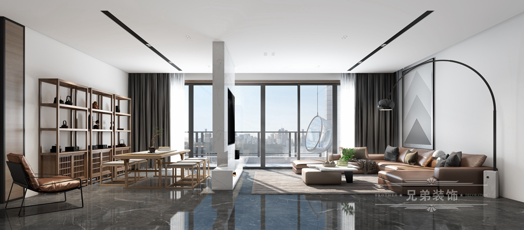 现代 黑白 装修 客厅图片来自重庆兄弟装饰黄妃在158㎡华润二十四城装修效果图的分享