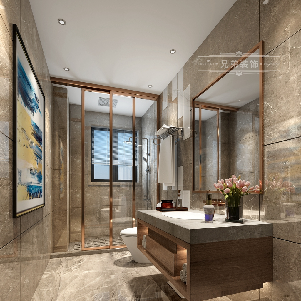 现代 黑白 装修 卫生间图片来自重庆兄弟装饰黄妃在158㎡华润二十四城装修效果图的分享