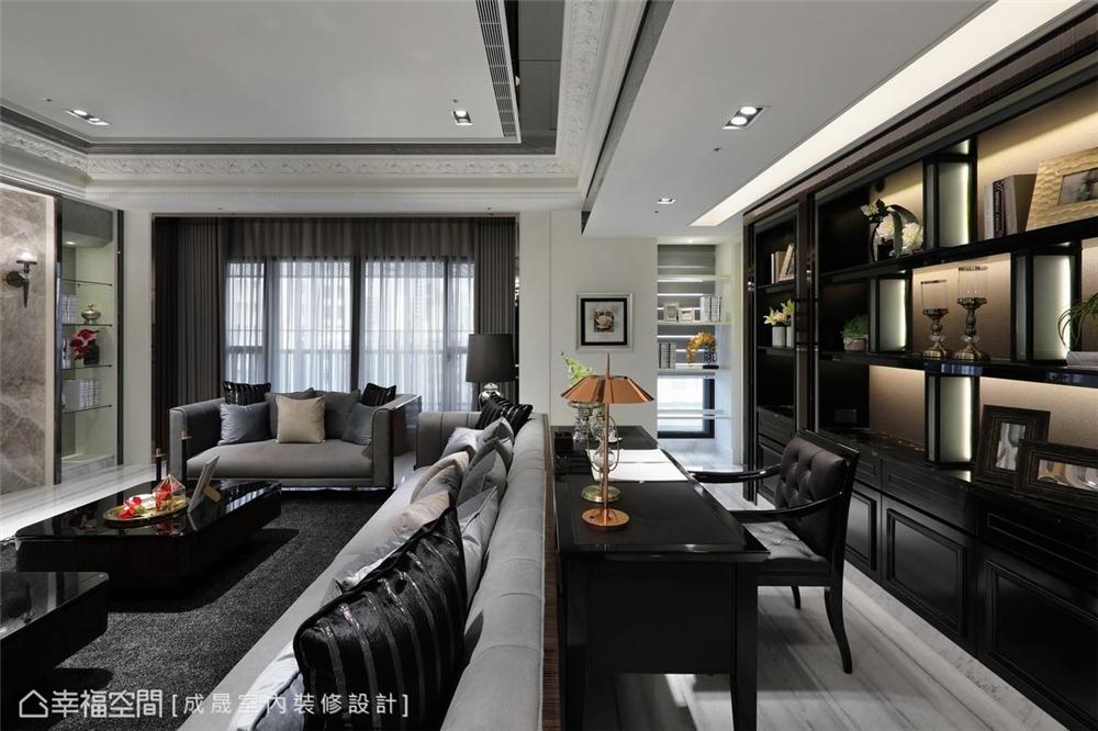 装修设计 装修完成 新古典 书房图片来自幸福空间在380平,磅礡大气  新古典奢华宅的分享