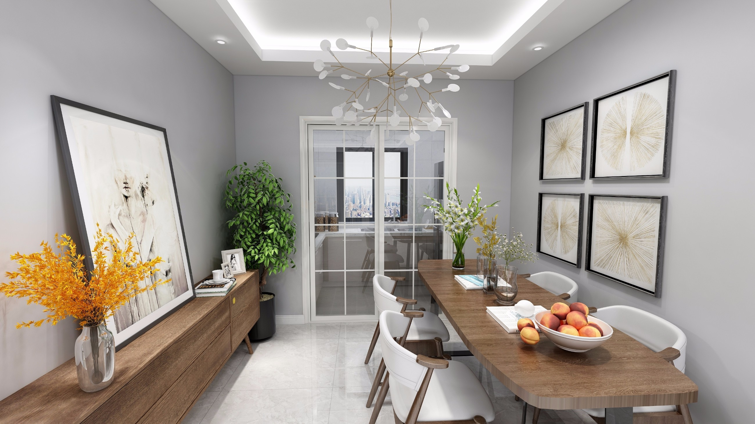 简约 三居 餐厅图片来自创艺装饰在君华锦云108平现代风格效果图的分享
