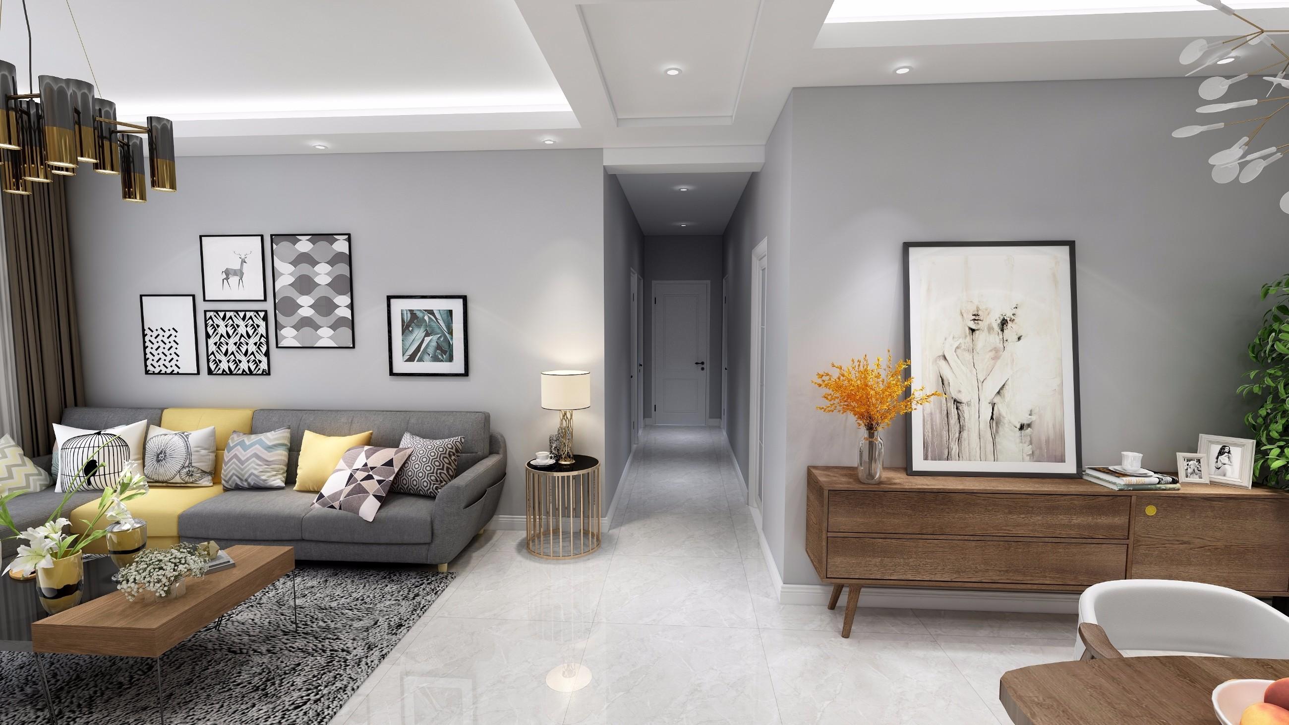 简约 三居 客厅图片来自创艺装饰在君华锦云108平现代风格效果图的分享