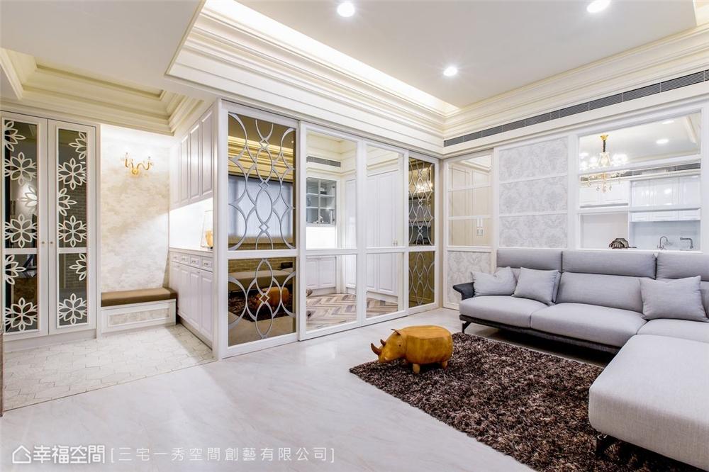 装修设计 装修完成 新古典 客厅图片来自幸福空间在132平, 酝酿温馨生活幸福居的分享