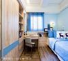 儿童房 以天空蓝色调做色彩主调,打造饶富童趣的儿童房,搭配原木的运用,未来可随着孩子长大,而轻易变换软装即可。