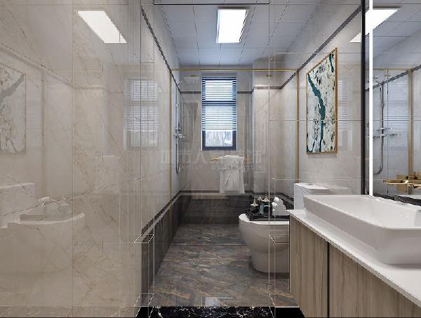 通透干净的大理石材质梳洗台面,将线条、对称的美感展现得淋漓尽致。