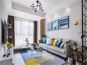 欧式 二居 白领 收纳 旧房改造 80后 小资 客厅图片来自北京今朝装饰在70㎡北欧风时尚自然的蓝灰的分享