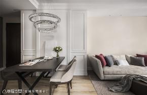 装修设计 装修完成 新古典 餐厅图片来自幸福空间在56平,纯净隽雅 新古典美学的分享