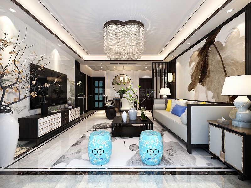 简约 新中式 装修公司 西安装修 浐灞半岛 客厅图片来自西安城市人家装饰王凯在145㎡新中式,温柔里间藏锋芒的分享