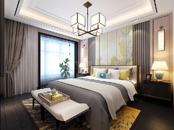卧室的浅色调搭配家具低饱和度色系的软包,墙壁为定制古韵壁画,地板为天然黑胡桃木、丰富的色彩插入点缀了烟灰的空间,细腻处从容儒雅。