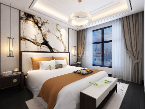 简约 新中式 装修公司 西安装修 浐灞半岛 卧室图片来自西安城市人家装饰王凯在145㎡新中式,温柔里间藏锋芒的分享