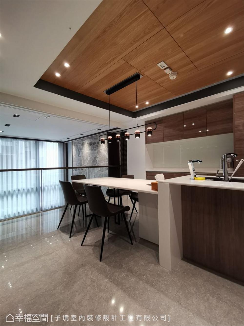 装修设计 装修完成 现代风格 餐厅图片来自幸福空间在331平,现代沉稳舒适机能宅的分享