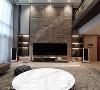 客厅设计 挑高的客厅设计,古振宏设计师选用大理石材质,以最大规格尺度铺叙电视墙,营造客厅恢弘气势。