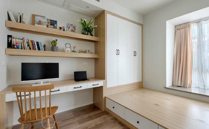 欧式 二居 白领 收纳 旧房改造 80后 小资 卧室图片来自今朝小伟在70㎡原木北欧的分享