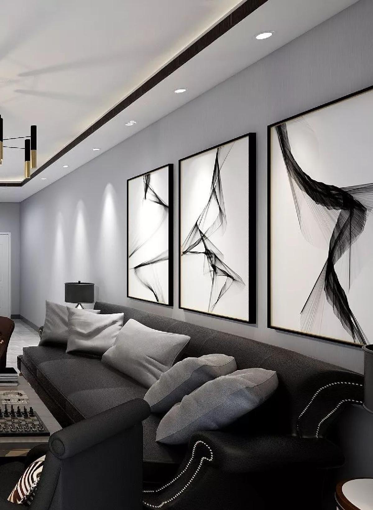 简洁大气的沙发,与空间相互搭配的主灯,黑白相间的规整电视柜,很有艺术性的斑马格纹地毯,再加上灵动艺术感突出的软装设计,让整个生活空间洋溢着生活+艺术的交融气息。