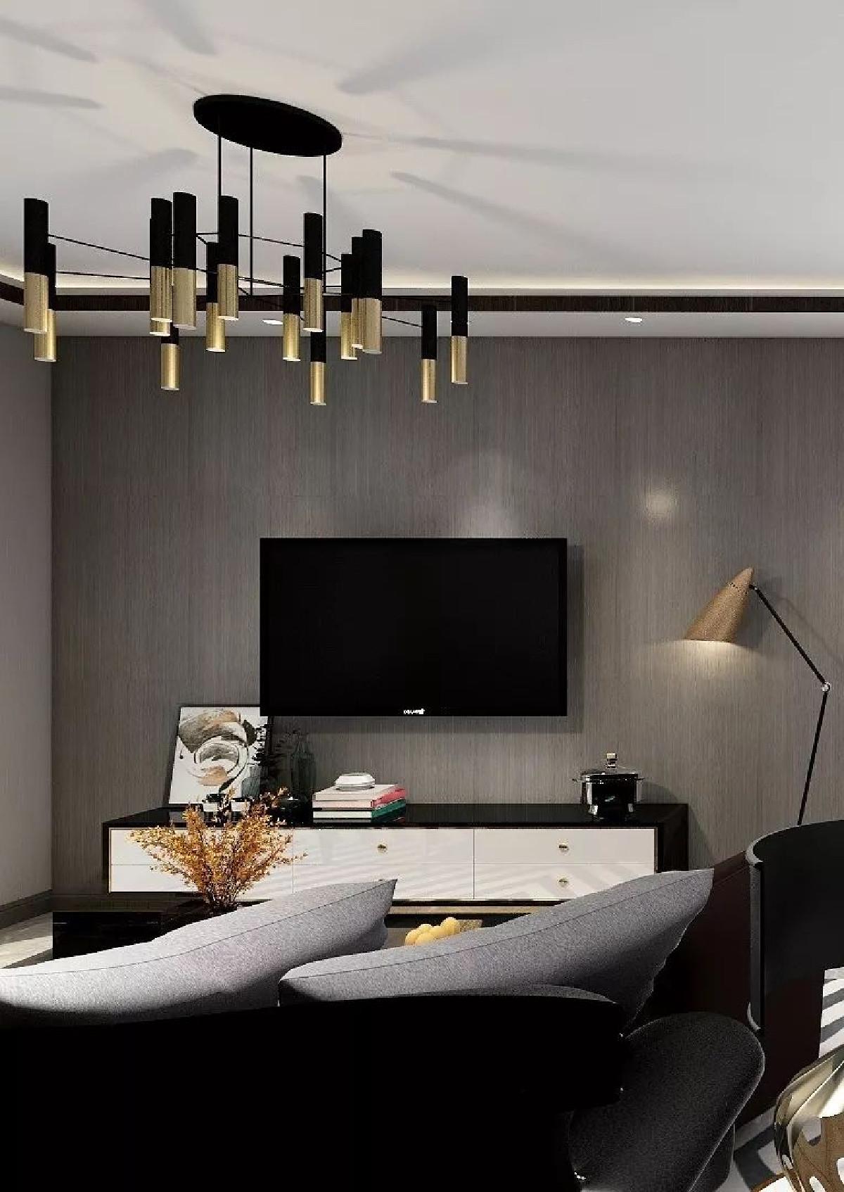 饱满的开放式格局,客厅自然以黑白灰为主体,让整个空间充满成熟艺术性和沉稳理性感。偏商务的装饰,将生活和工作的界限渐渐冲淡,正是主人想要达到的效果。