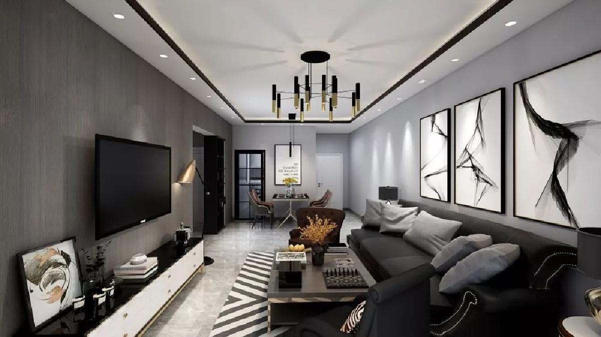 简约的灰色电视背景墙,为了避免过多装饰喧宾夺主,过于繁冗,以材质本身的纹理加上灯光的渲染呈现自然美感。灰色大理石地面在冲淡过于庄重气氛的同时也起到了提升气质的作用。