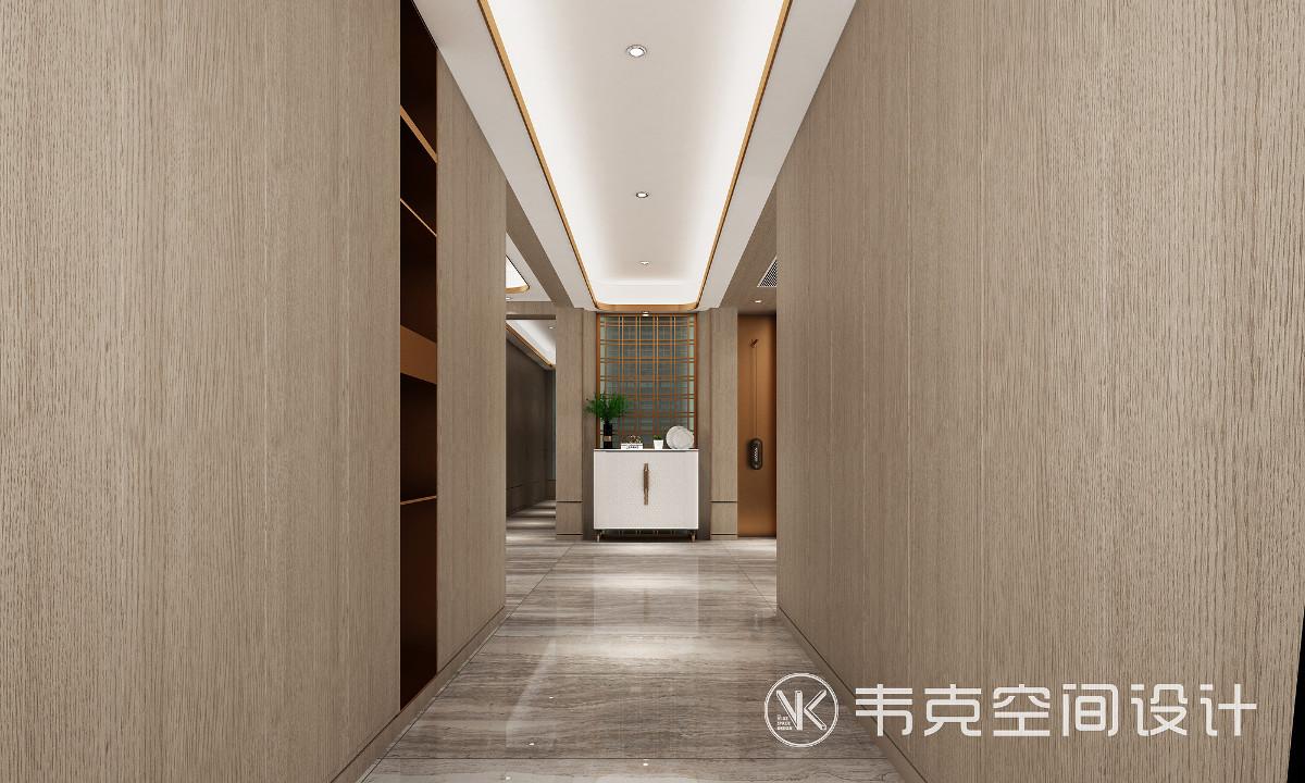 富有设计感的玄关吊顶让玄关处更有层次感,隐藏的灯带,照射出柔和的光线,让空间显得明亮又高级。 玄关背景墙采用窗格装饰,意境十足。小而美的玄关柜充满了精致和恰到好处的适合。