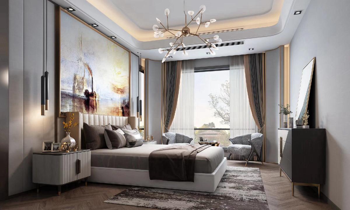 兄弟装饰,金科九曲河170㎡卧室装修设计效果图