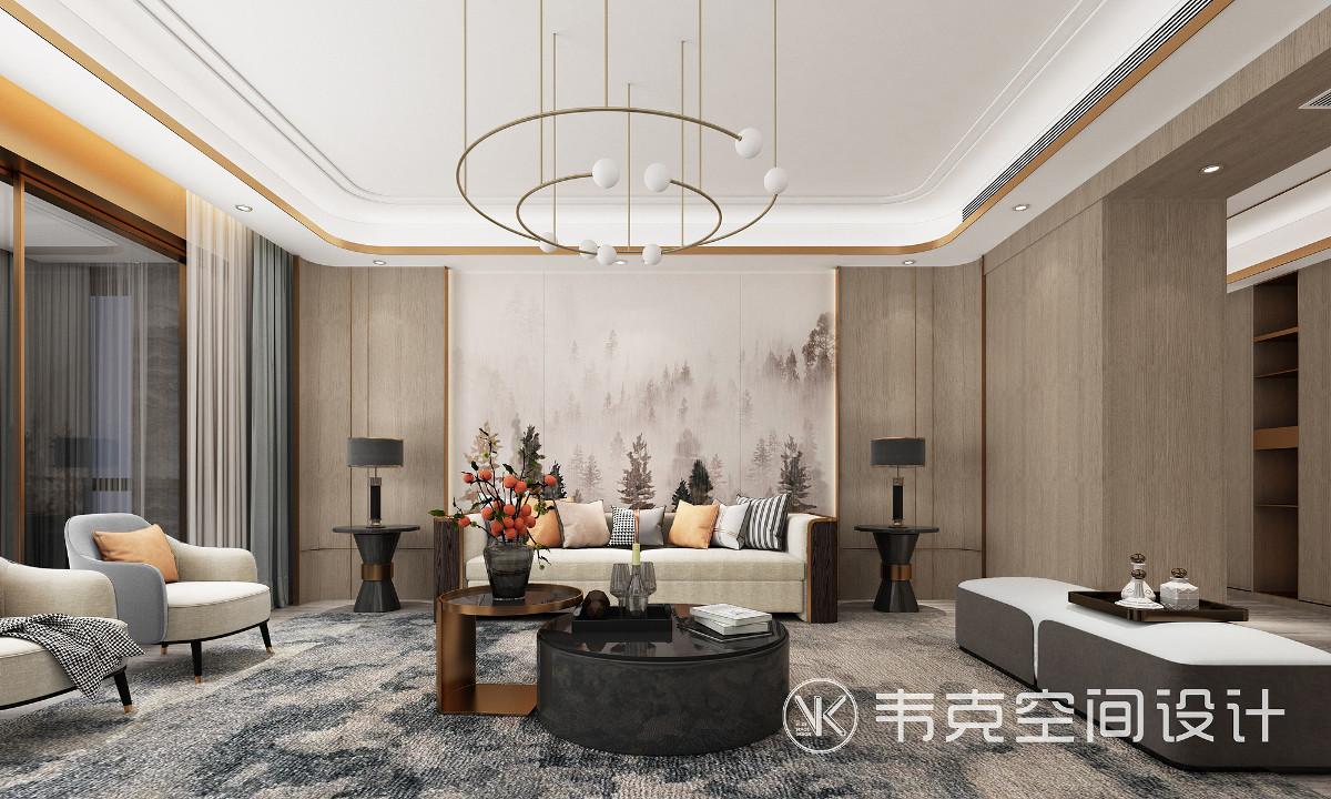 客厅有足够大的空间,借助各种现代材质及装饰技巧,为平淡的空间带来无尽的优雅和时尚的风华。