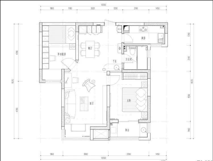 二居 白领 收纳 旧房改造 80后 小资 户型图图片来自今朝小伟在90㎡北欧风,很赞的婚房设计的分享