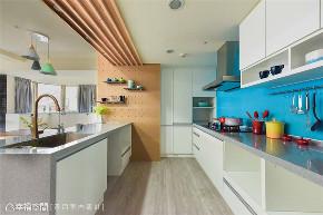 装修设计 装修完成 混搭风格 厨房图片来自幸福空间在99平,空气感跳色缤纷新婚宅的分享