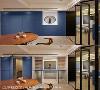 双面柜设计 统整收纳机能的配置,整面式藏蓝跳色墙除了是端景墙,没有踢脚板的安排,更打造出兼具双面柜收纳与客浴隐藏门机能。