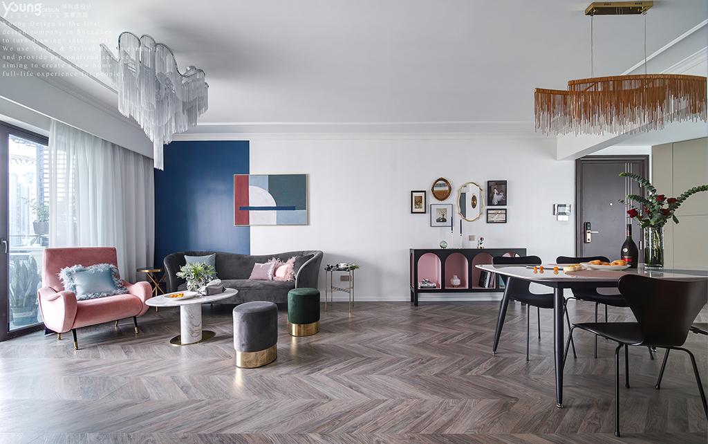 简约 混搭 白领 收纳 旧房改造 80后 小资 客厅图片来自漾设计在Young新作 | 法式轻奢风来袭!的分享
