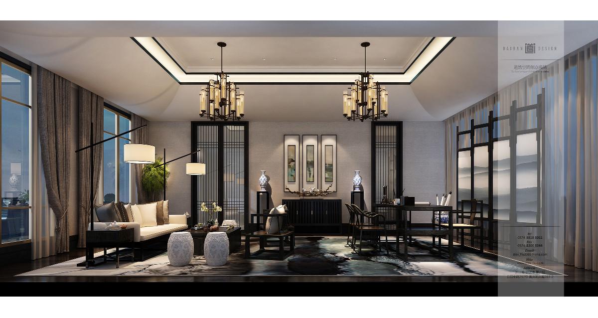 別墅的四樓區域根據主人的生活習慣,佈置了中式書房。