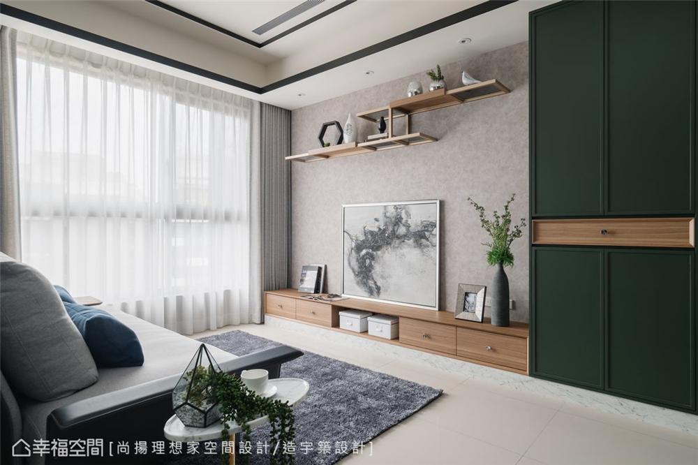 装修设计 装修完成 美式风格 客厅图片来自幸福空间在73平, 高CP值美式新婚宅的分享
