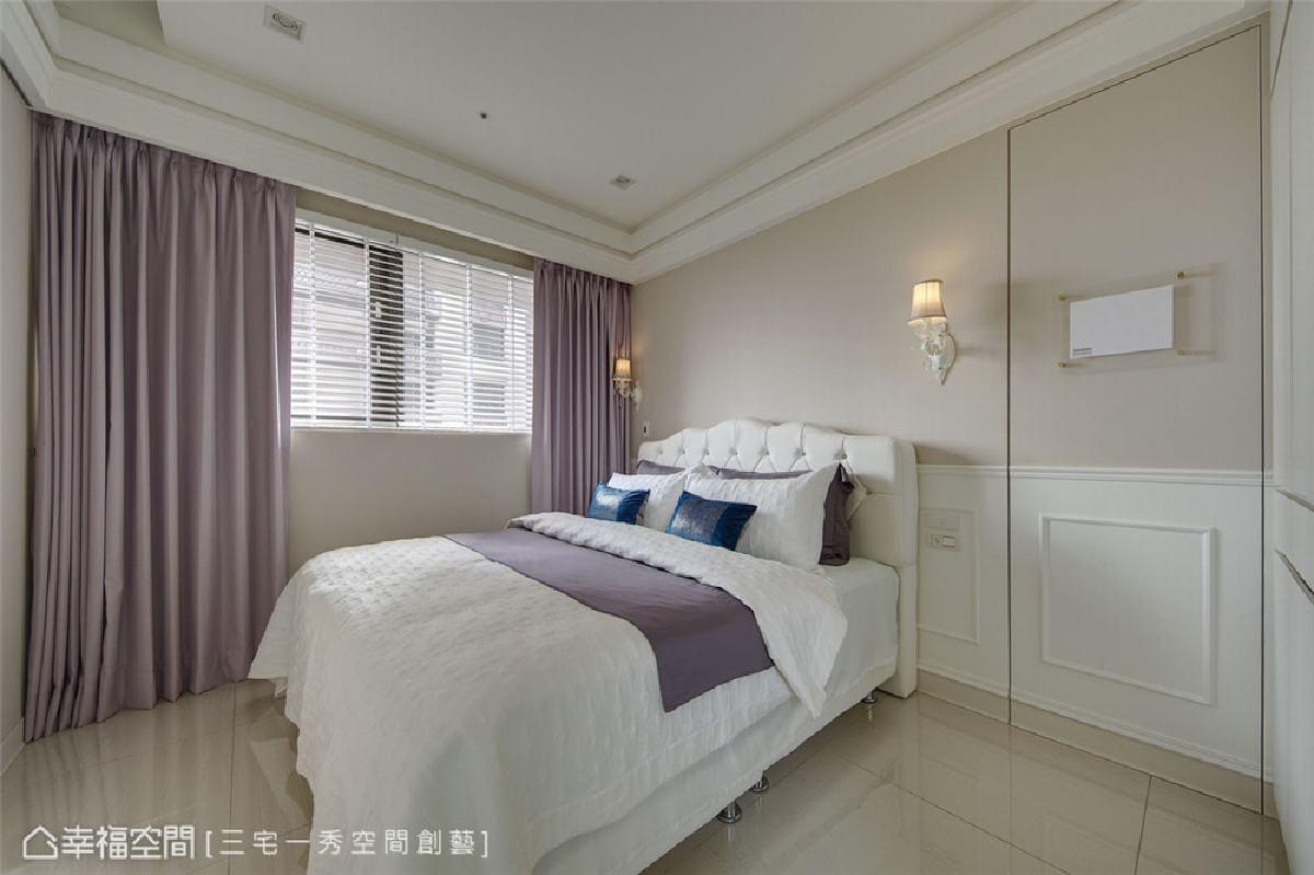 主卧 以白色搭配藤色作为视觉主色,并加装浅紫色遮光窗帘,围塑放松无压力的舒眠环境。