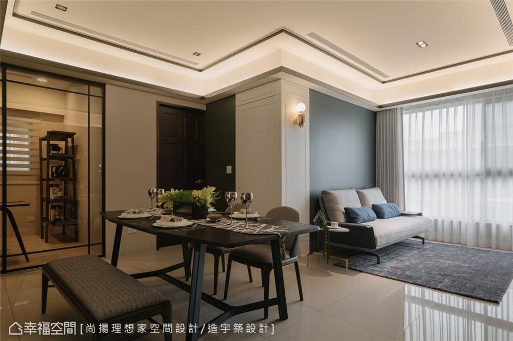 装修设计 装修完成 美式风格 餐厅图片来自幸福空间在73平, 高CP值美式新婚宅的分享